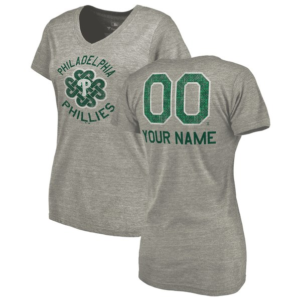 Women's Philadelphia Phillies Fanatics Branded Heathered Gray Personalized St. Patrick's Day Luck Tradition Tri-Blend V-Neck T-Shirt
