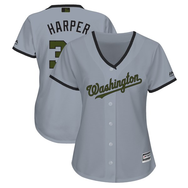 Women's Washington Nationals Bryce Harper Majestic Gray 2018 Memorial Day Cool Base Player Jersey